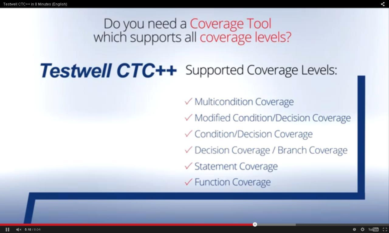 Testwell CTC++: all coverage levels